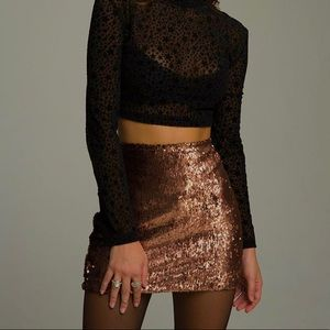 2/$20✨ NWT F21 Copper Sequinned Mini Skirt